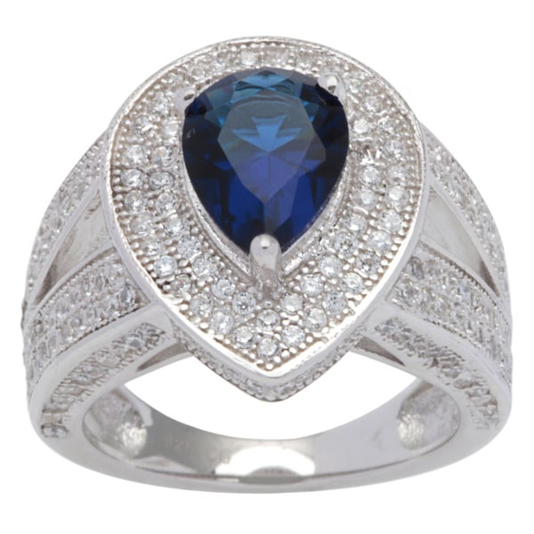 Sterling Silver Vintage-style Pear-shape Navy Blue Cubic Zirconia Halo and Split Shank Ring