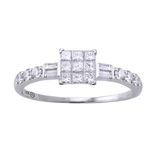 Beverly Hills Charm 14k White Gold 1/2ct TDW Invisible-set Diamond Engagement Ring (H-I, SI2-I1)