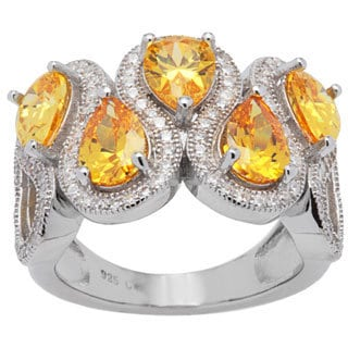 Sterling Silver Vintage-style Pear-shape Yellow and White Cubic Zirconia Wave Ring