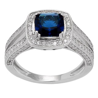 Sterling Silver Square Blue Center Cubic Zirconia Ring