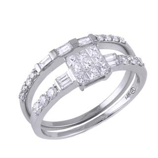 Beverly Hills Charm 14k White Gold 3/4ct TDW Princess Diamond Bridal Set (H-I, SI2-I1)