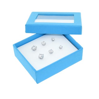 Eternally Haute Sterling Silver Round Cubic Zirconia Stud Earrings (Set of 3)