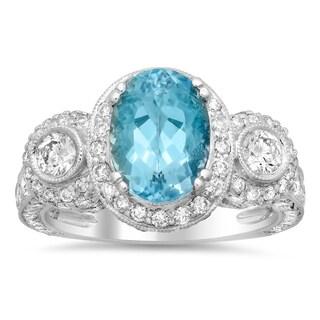 18k White Gold 2ct TDW Diamond and Aquamarine Gemstone Ring (F-G, SI1-SI2)