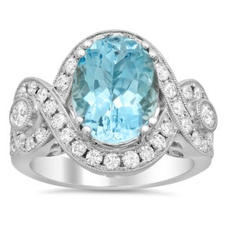 18k White Gold 1 1/4ct TDW Diamond and Aquamarine Gemstone Ring (F-G, SI1-SI2)
