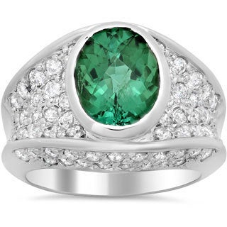 14k White Gold 1 3/5ct TDW Diamond and Tourmaline Ring (F-G, SI1-SI2)