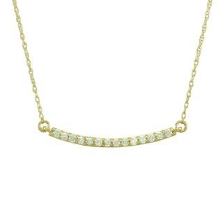 14k Gold 1/6ct TDW Diamond Mini Bar Necklace (G-H, SI1-SI2)