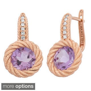 14k Rose Gold Textured Omega Gemstone Rope Earrings