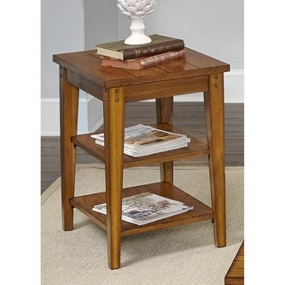 Liberty Lake House Transitional Oak Tiered Chair Side Table