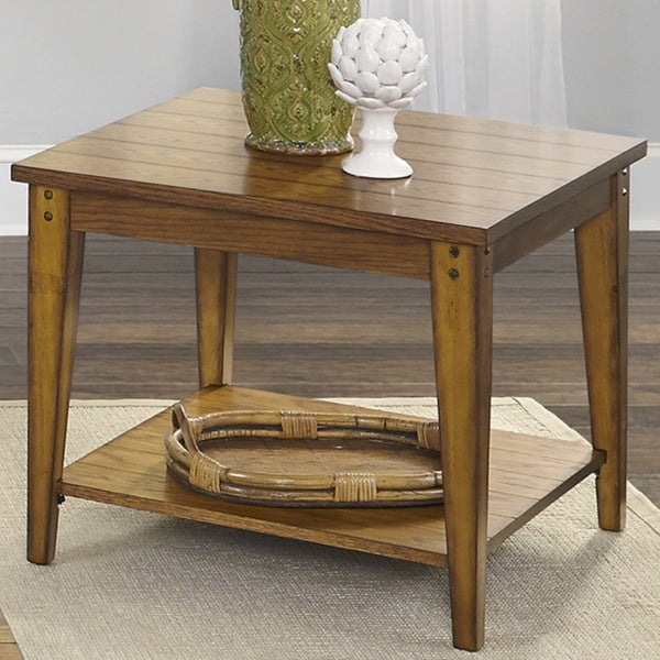 Liberty Lake House Transitional Oak Lamp Table