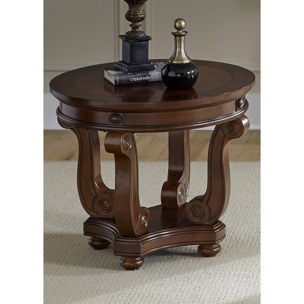 liberty victorian dark classic cherry round end table 16597898 overstock shopping great. Black Bedroom Furniture Sets. Home Design Ideas