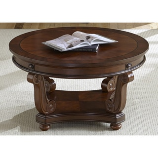Liberty Victorian Dark Classic Cherry Round Cocktail Table