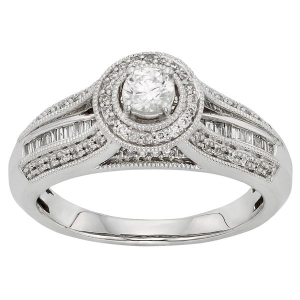 Sofia 10k White Gold 1/2ct TDW Round-cut Diamond Halo Engagement Ring (H-I, I1-I2)