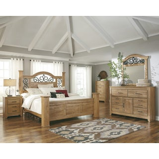 Signature Design by Ashley Drogan Light Brown Wood and Iron Poster Bed