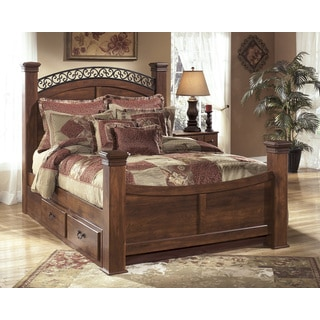 Signature Design by Ashley Timberline Warm Brown Storage Poster Bed