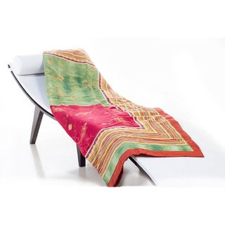 Bassetti Bibi Pink/ Green Cotton Throw Blanket