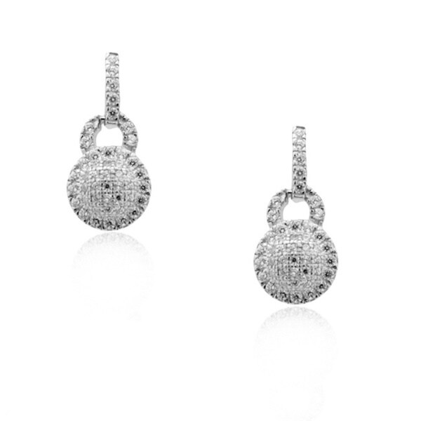 Gioelli Sterling Silver Micro-pave Round Clear CZ Earrings