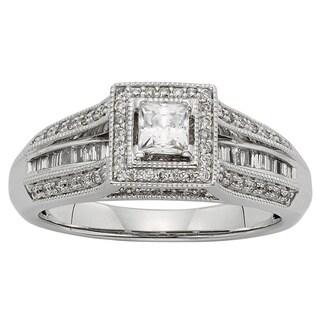 Sofia 10k White Gold 1/2ct TDW Princess-cut Diamond Engagement Ring (H-I, I1-I2)
