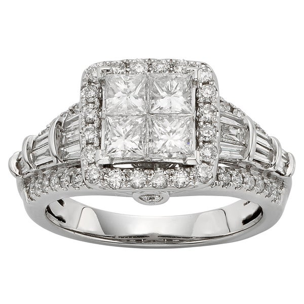 Sofia 10k White Gold 1 1/2ct TDW Princess-cut Diamond Ring (H-I, I1-I2)