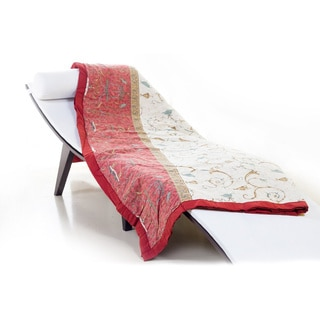 Bassetti 'Oplontis V8' Red/ White Floral Scrollwork Throw Blanket
