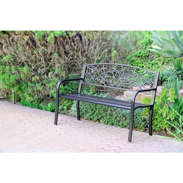Scrolling Hearts Curved-back Steel Park Bench 13908644