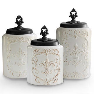 Antique White Canisters (Set of 3)