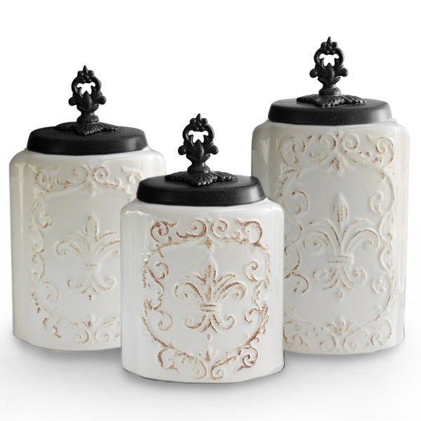 antique white canisters set of 3 16598006 overstock