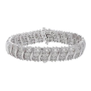 Sterling Silver 2ct Prong-set White Diamond Bracelet (J-K, I2-I3)
