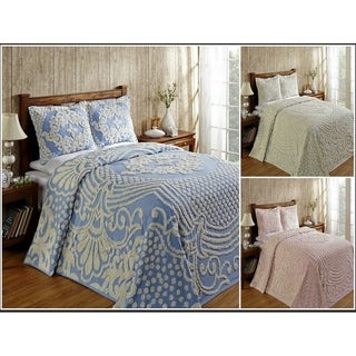 Better Trends Florence Collection in Medallion Design 100% Cotton Tufted Chenille Bedspreads & Shams