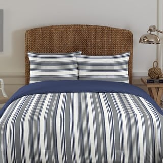 Nautica Norwalk Grey Stripe Cotton 3-piece Comforter Set