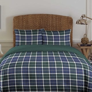 Nautica Westmont Navy Plaid Cotton 3-piece Comforter Set