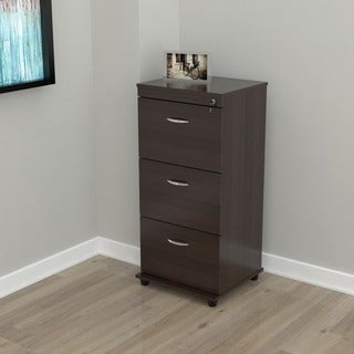 Three-drawer Espresso Locking File Cabinet