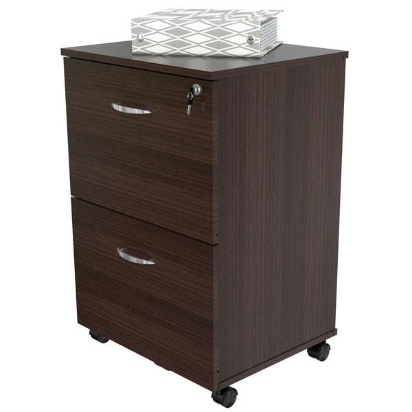 Mobile 2-drawer Espresso File Cabinet