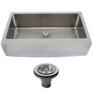 Ticor 4415BG-DEL 33-inch Curved Front Single Bowl Stainless Steel Undermount Farmhouse Apron Kitchen Sink