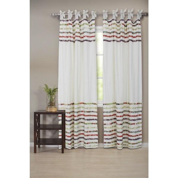 multi colored cotton bella ruffle tab top curtain panel pair