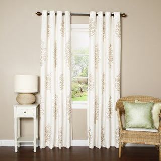 Aurora Home Tree Embroidery Grommet Top Curtain Panel Pair
