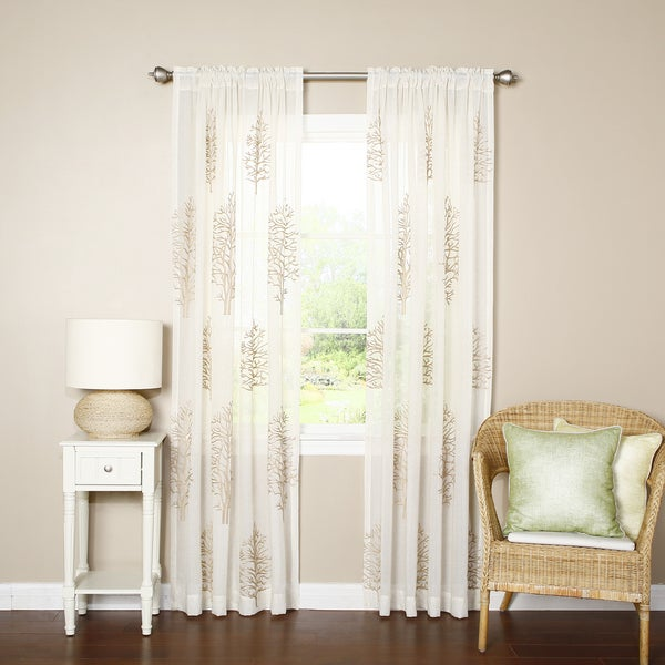 Lights Out Sheer Tree Embroidery Rod Pocket Curtain Panel Pair