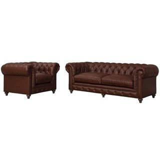 Durango Antique Brown Rustic Leather Sofa and Armchair Set