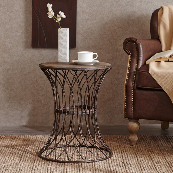Round End Table With Storage Round Chairside End Table
