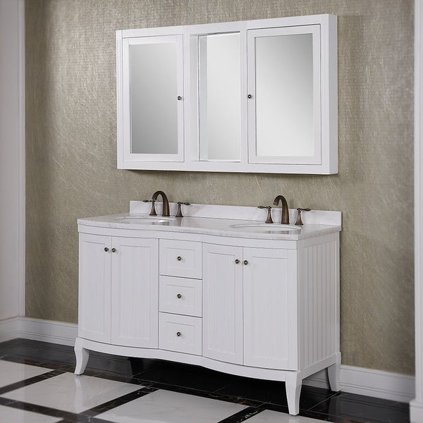 top 60 inch double sink bathroom vanity with wall mirror cabinet