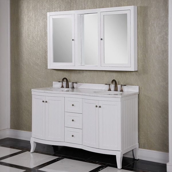 White Marble Top 60inch Double Sink Bathroom Vanity with Wall Mirror