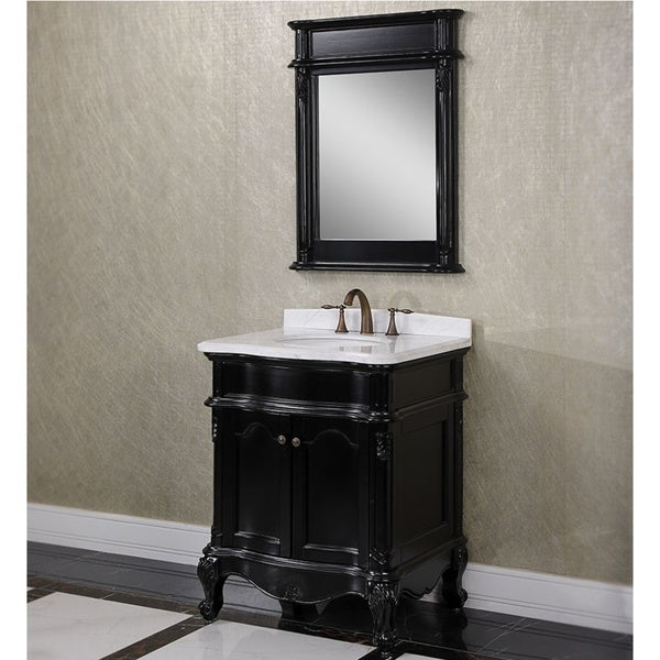Carrara White Marble Black 30 Inch Single Sink Bathroom Vanity With Matching Mirror 16598262