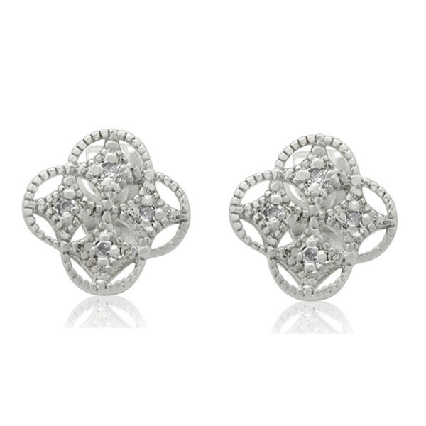 Gioelli Sterling Silver Diamond Accent Clover Shaped Stud Earrings