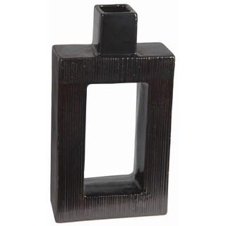 Short Contemporary Charcoal Ceramic Vase