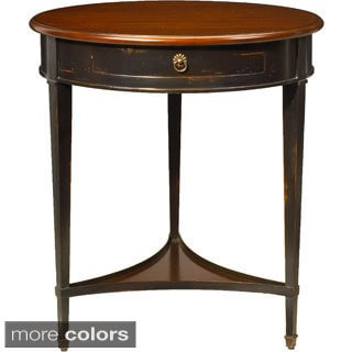 French Heritage Single-shelf Round End Table with One Drawer
