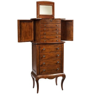 Antique Cherry Finished Armoire A Bijoux with Mirrored Lift Up Top