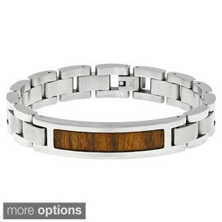 Stainless Steel Link Wooden Inlay Bracelet