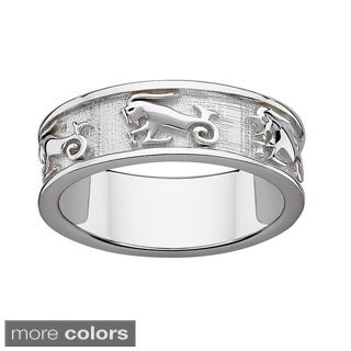 Sterling Silver or Gold over Sterling Textured Capricorn Zodiac Band