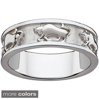 Sterling Silver or Gold over Sterling Textured Taurus Zodiac Band