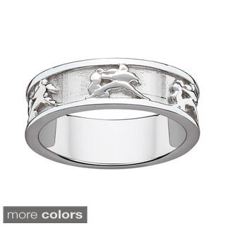 Sterling Silver or Gold over Sterling Textured Aquarius Zodiac Band