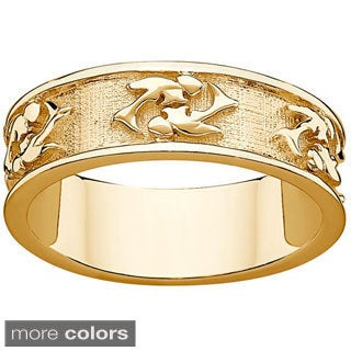 Sterling Silver or Gold over Sterling Textured Pisces Zodiac Band